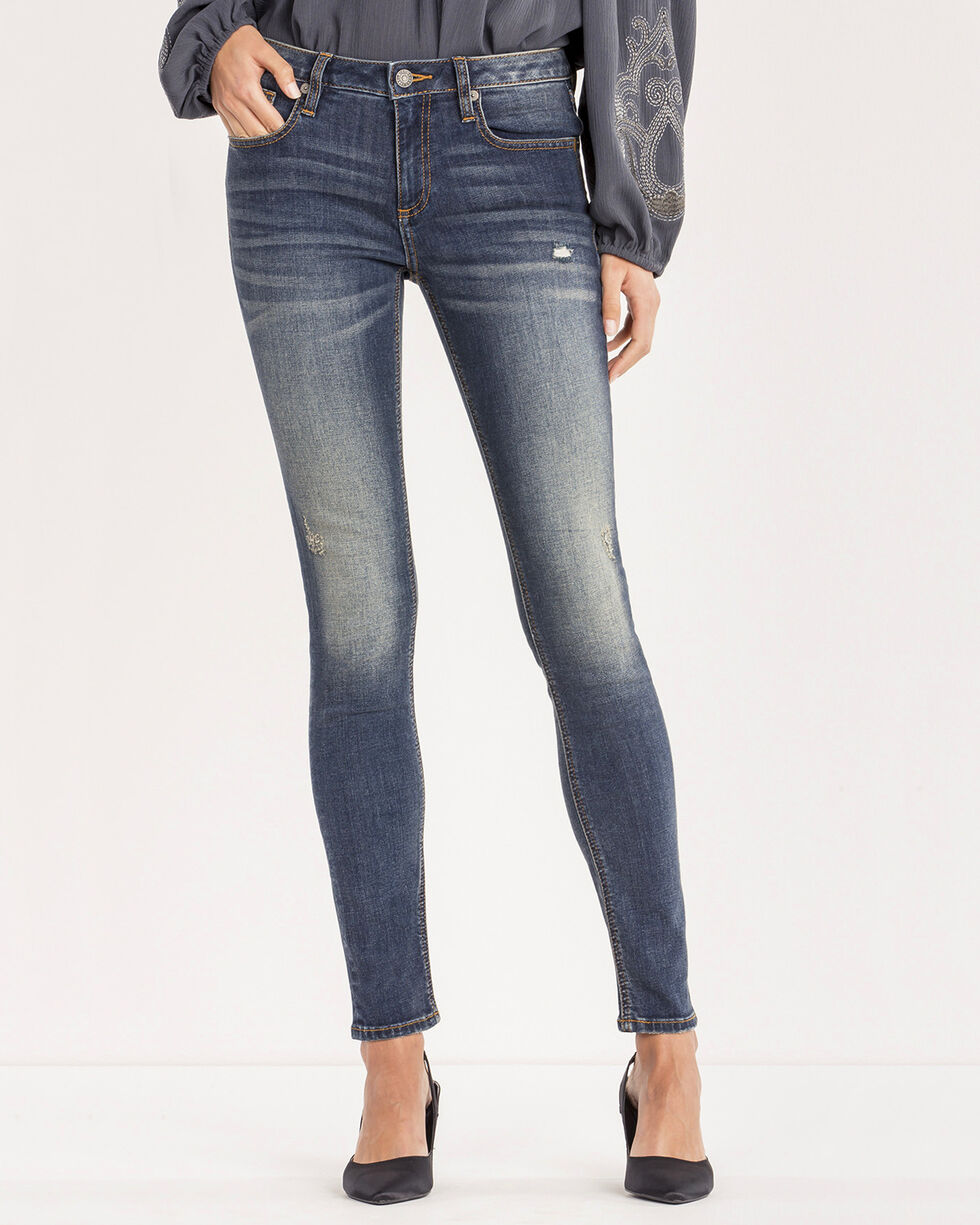 Miss Me Women's All In Stride Mid-Rise Skinny Jeans, Blue, hi-res
