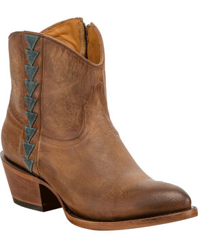 Lucchese Women's Chloe Tan Goat Leather Geometric Overlay Western Booties - Round Toe, Tan, hi-res