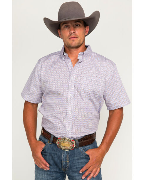 Cody James Men's Cliff Print Short Sleeve Button Down Shirt - Big, Red, hi-res