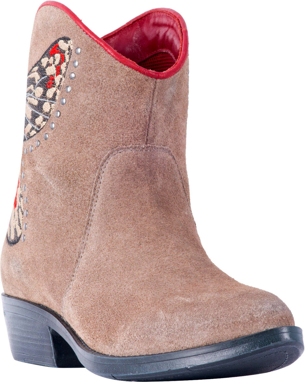 Laredo Women's Taupe Suede Flutter Butterfly Boots - Round Toe , Taupe, hi-res