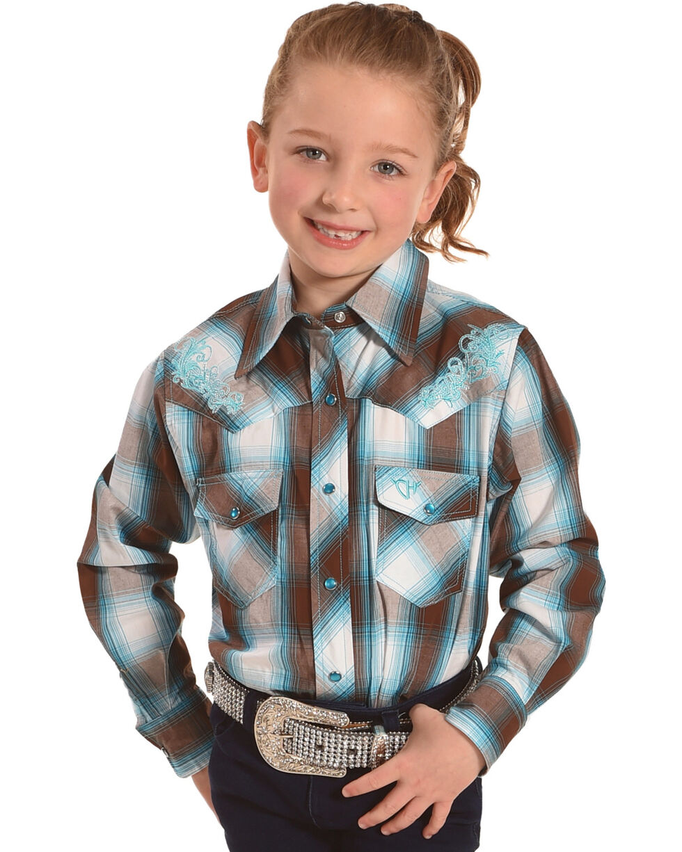 Cowgirl Hardware Girls' Plaid Embroidered Long Sleeve Western Shirt, Brown, hi-res
