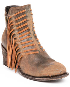 Corral Women's Brown Side Fringe Booties - Medium Toe , Brown, hi-res