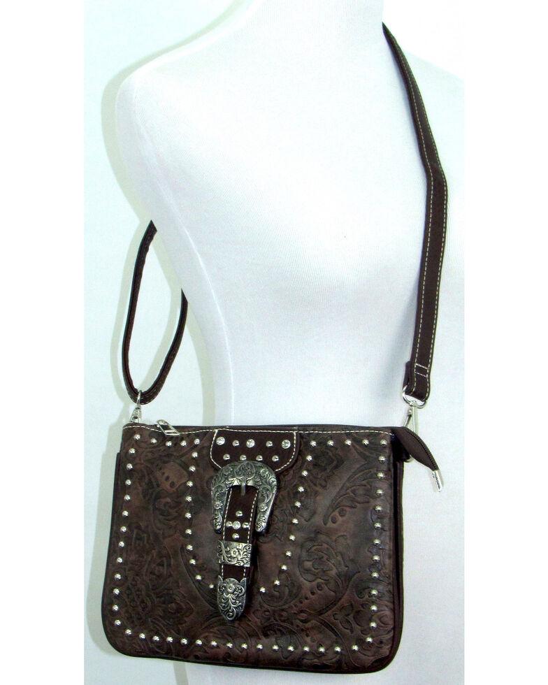 Savana Women's Buckle Tooled Crossbody Bag, Brown, hi-res