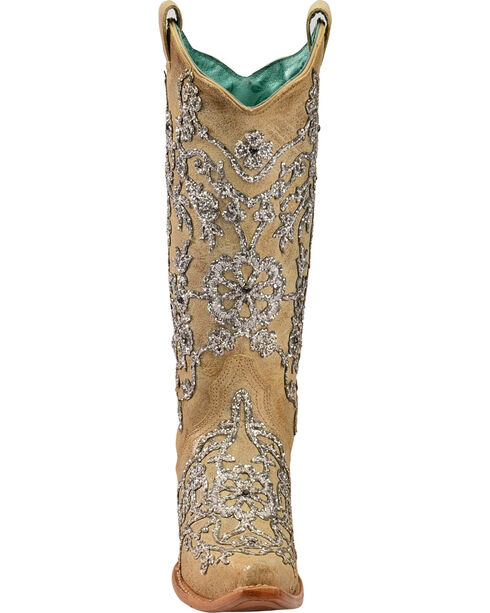 Corral Women's Bone Glitter Overlay Embroidery & Crystals Cowgirl Boots - Snip Toe, Natural, hi-res