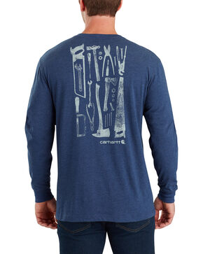 Carhartt Men's Maddock Tool Graphic Long-Sleeve T-Shirt , Indigo, hi-res