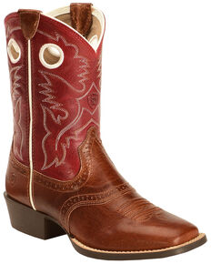 Ariat Boys' Tan Roughstock Cowboy Boots - Square Toe , Tan, hi-res