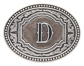 "Montana Silversmiths Men's Initial ""D"" Two-Tone Attitude Belt Buckle, Silver, hi-res"