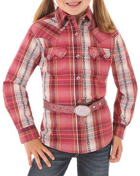 Wrangler Girls' Pink Dobby Plaid Western Shirt , Pink, hi-res