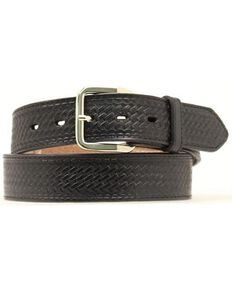 Double S Basketweave Embossed Money Pocket Leather Belt, Black, hi-res