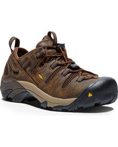 Keen Men's Atlanta Cool Water Resistant ESD Work Shoes, Brown, hi-res