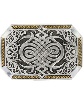 Montana Silversmiths Silver Antiqued Celtic Knot Buckle , Silver, hi-res