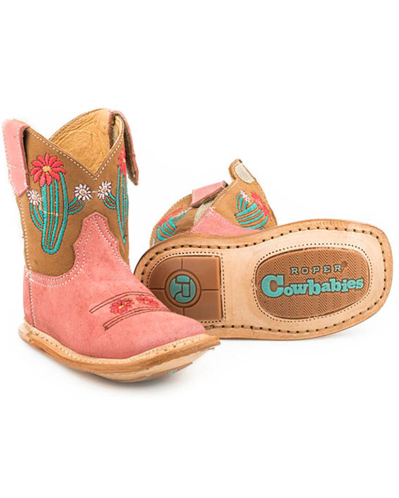 Roper Infant Girls' Cowbaby Cactus Western Boots - Square Toe, Tan, hi-res