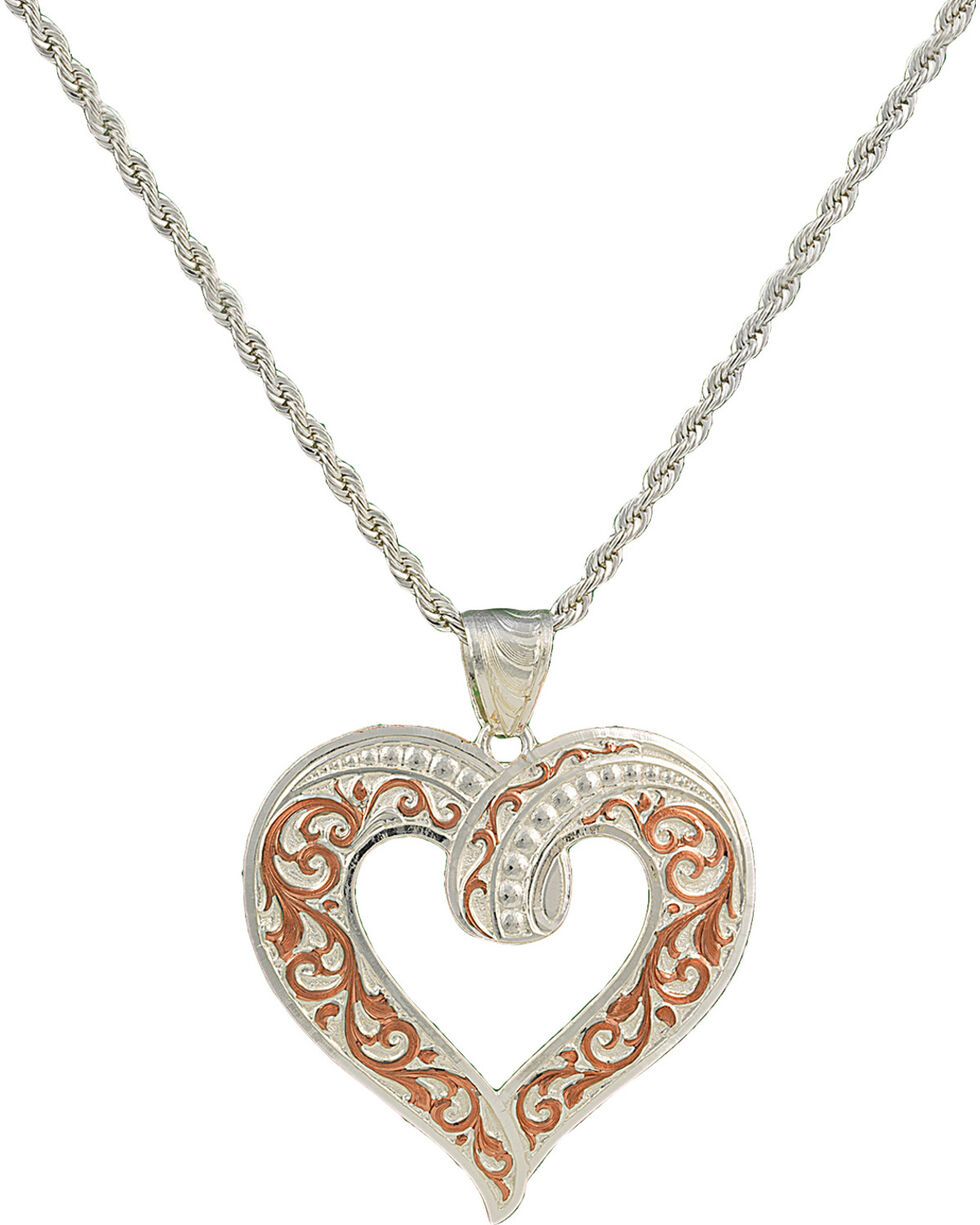 Montana Silversmiths Two Tone Copper Ribbon Heart Necklace, Multi, hi-res