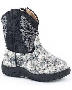 Roper Infant Girls' Floral Glitter Poppet Boots - Round Toe, Black, hi-res