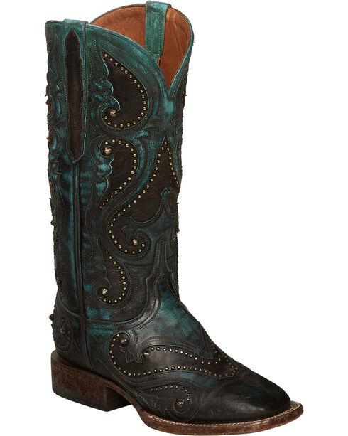 Lucchese Aqua Ombre Rita Cowgirl Boots - Square Toe , Aqua, hi-res
