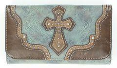 Blazin Roxx Studded Cross Applique Wallet, Blue, hi-res
