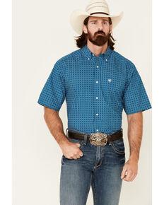 Ariat Men's Castor Geo Print Short Sleeve Button-Down Western Shirt , Blue, hi-res