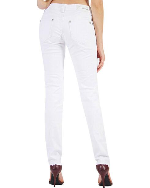 Grace in LA Women's Frayed Hem Skinny Jeans, White, hi-res
