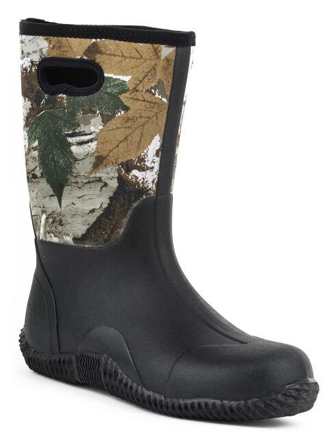 Roper Camo Barnyard Neoprene Boots, Black, hi-res