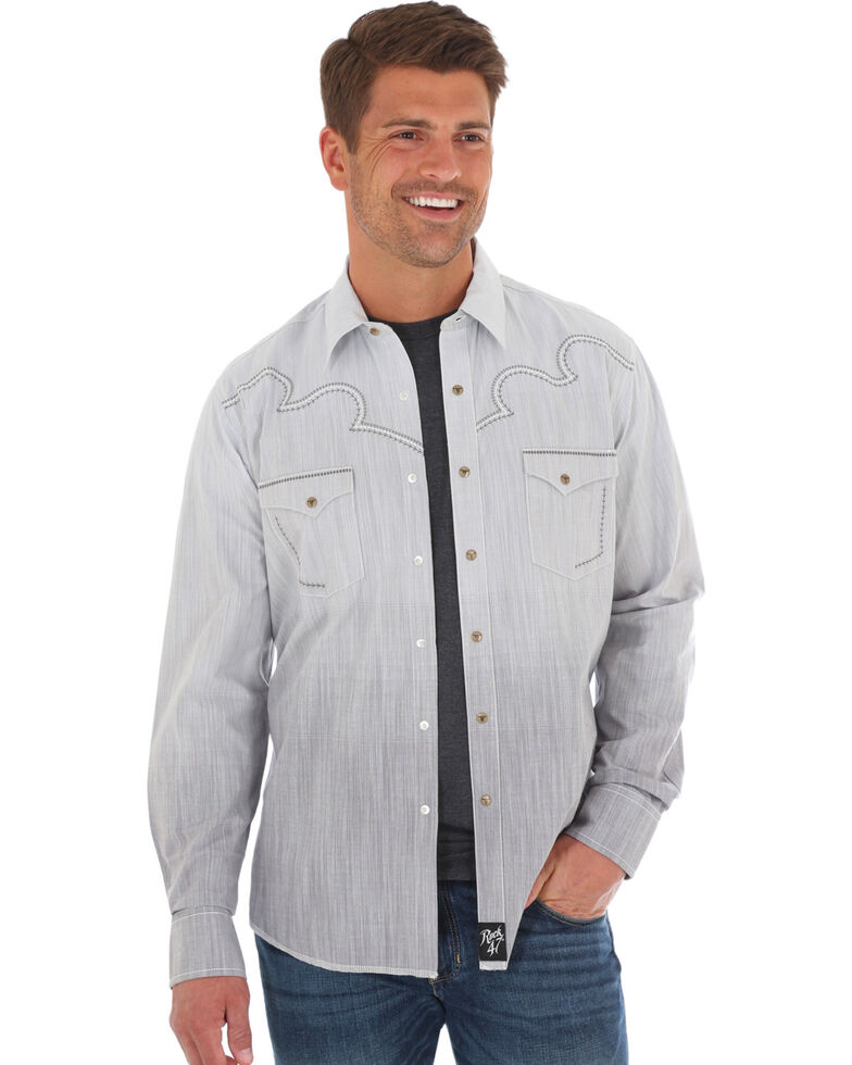 Rock 47 By Wrangler Men's Grey Ombre Print Long Sleeve Western Shirt, Grey, hi-res