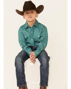 Amarillo Boys' Sweet Water Teal Geo Print Long Sleeve Button-Down Western Shirt , Teal, hi-res
