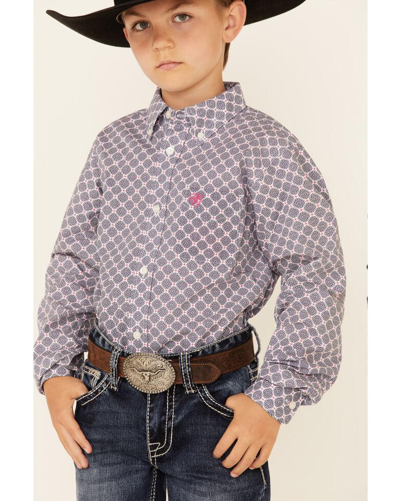 Ariat Boys' Pietro Geo Print Long Sleeve Button-Down Western Shirt , White, hi-res