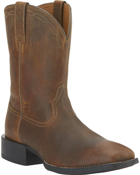 Ariat Men's Heritage Roper Boots - Wide Square Toe, Brown, hi-res