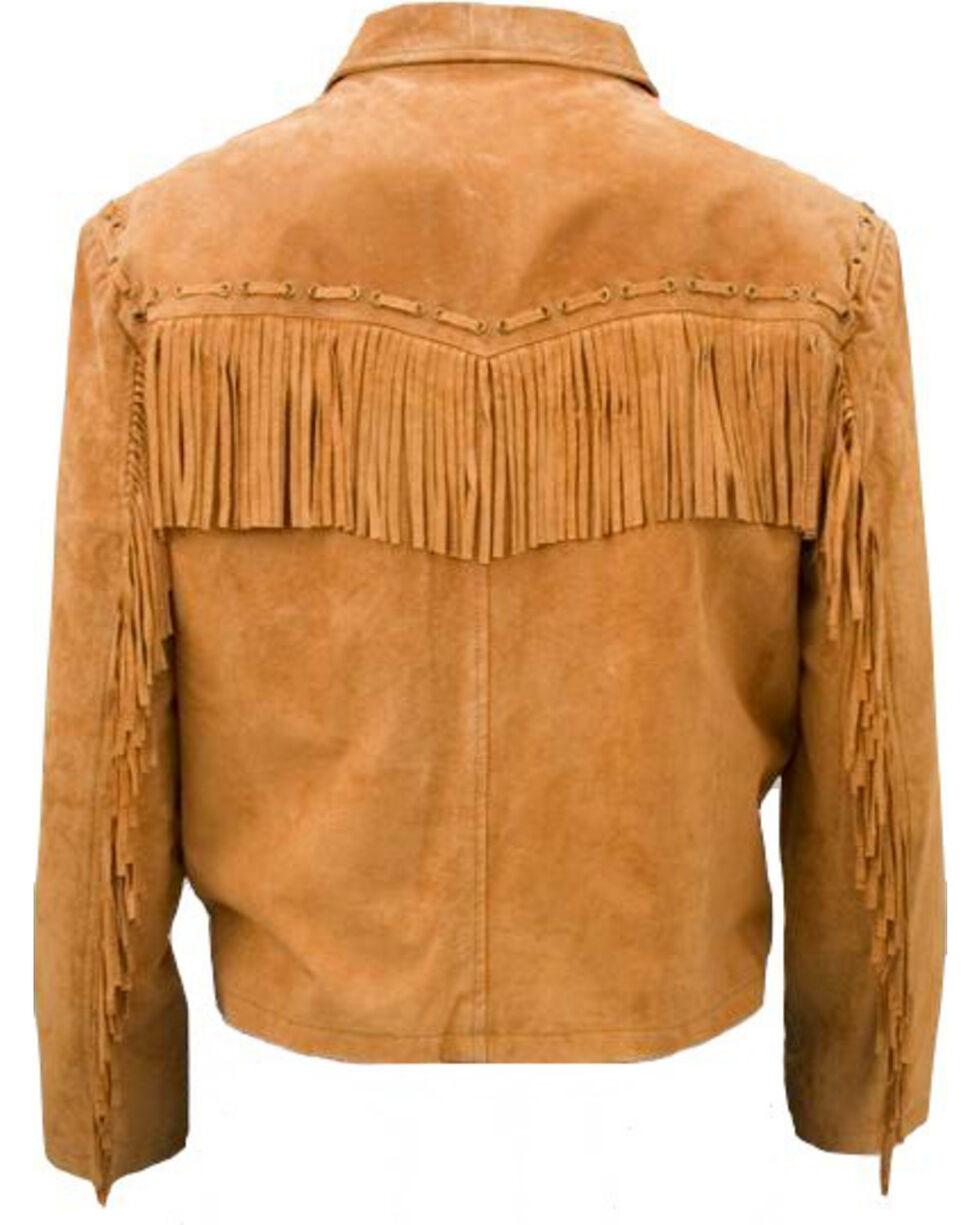 Vintage Leather Men's Suede Fringe Jacket, Brown, hi-res