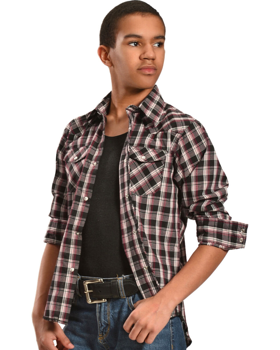 Wrangler Boys' Assorted Plaid Western Shirt - 2-20, Plaid, hi-res