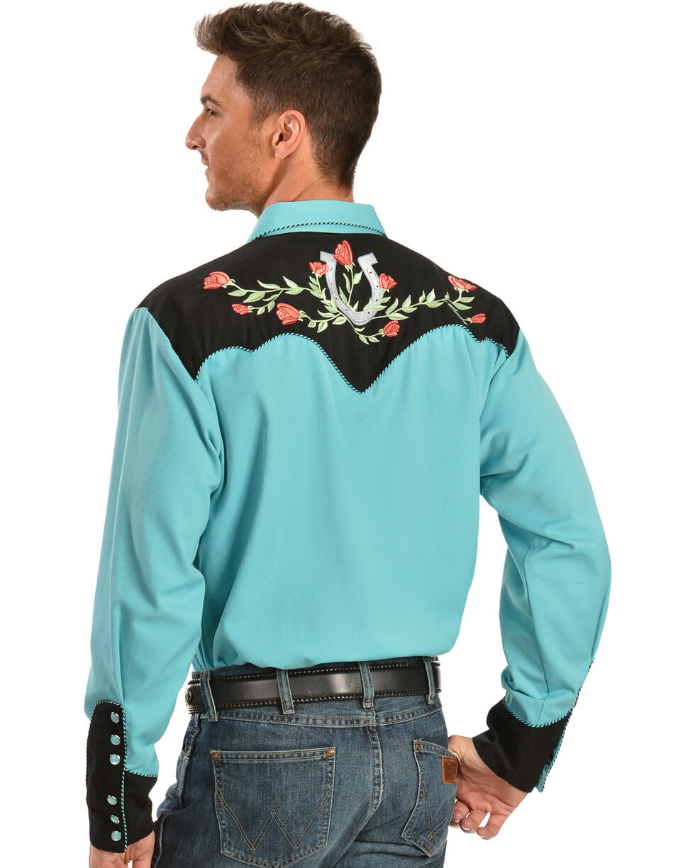 Scully Rose & Horseshoe Embroidered Retro Western Shirt, , hi-res