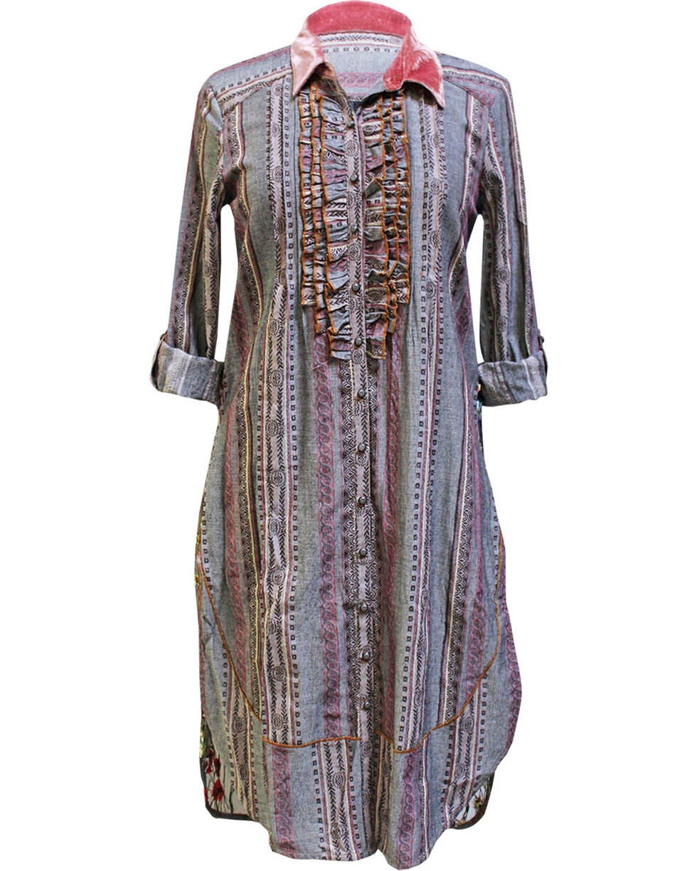 Aratta Women's Charcoal Helen Embroidered Tunic , Multi, hi-res