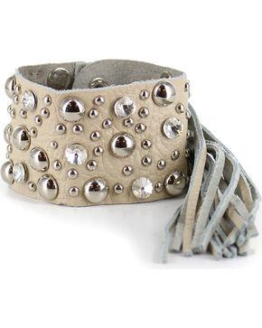 Shyanne Women's Rhinestone Studded Fringe Bracelet, Cream, hi-res