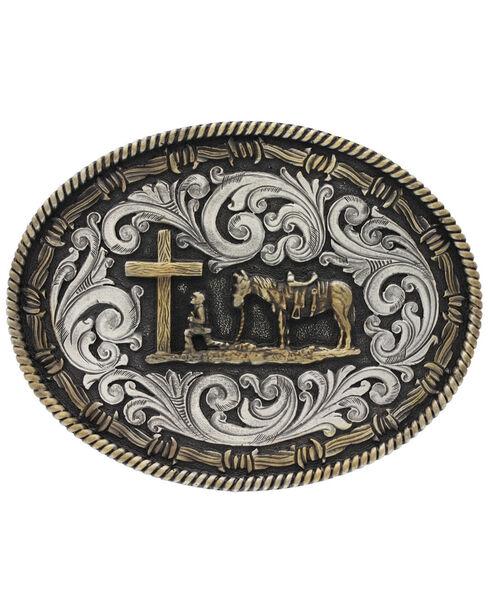 Montana Silversmiths Two-Tone Classic Impressions Christian Cowboy Attitude Belt Buckle, Multi, hi-res