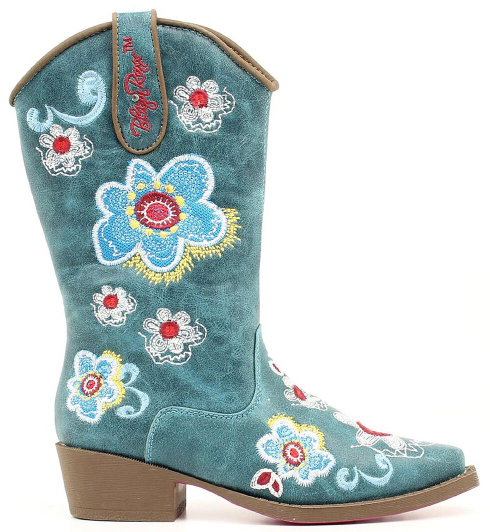 Blazin Roxx Youth Girls' Sage Floral Embroidered Cowgirl Boots - Snip Toe, Turquoise, hi-res
