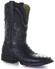 Corral Men's Black Ostrich Inlay Western Boots - Square Toe, Black, hi-res