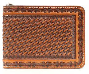 Nocona Basketweave Barbed Wire Embossed Bi-Fold Wallet, Brown, hi-res