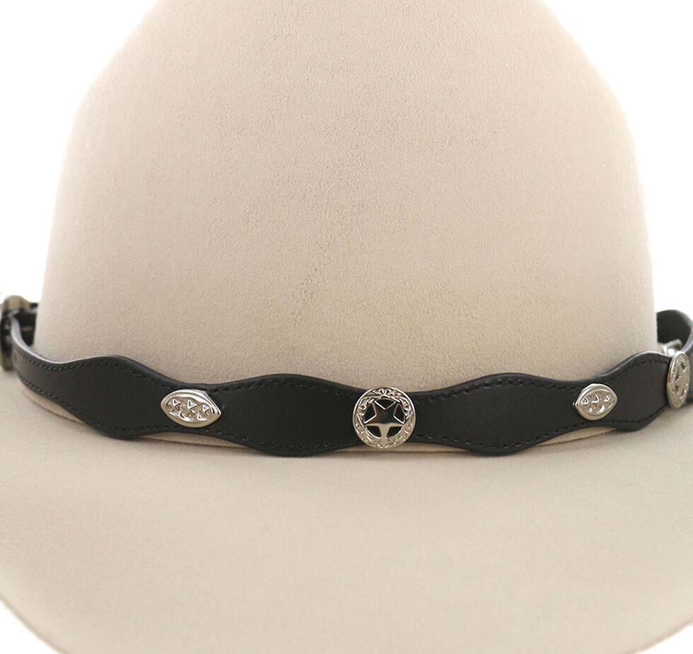 Cody James Sheriff Star Concho Leather Hat Band, Black, hi-res