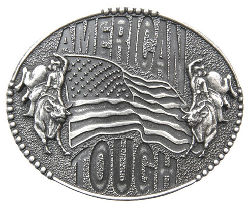 AndWest Men's American Tough Bull Rider Belt Buckle, Silver, hi-res