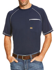 Ariat Men's Navy Rebar Sunstopper Pocket Short Sleeve Work T-Shirt , Navy, hi-res