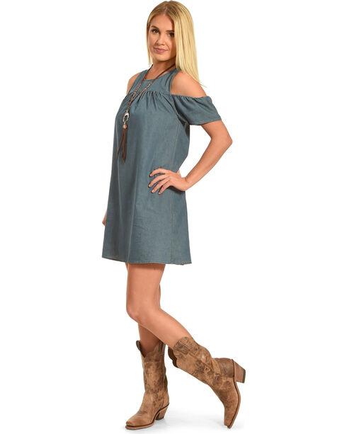 Polagram Women's Cold Shoulder Solid Denim Dress, Indigo, hi-res