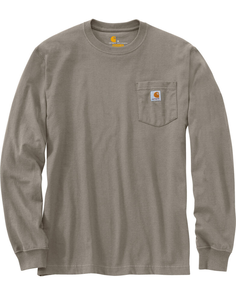 Carhartt Long Sleeve Pocket Work Shirt - Tall, Tan, hi-res