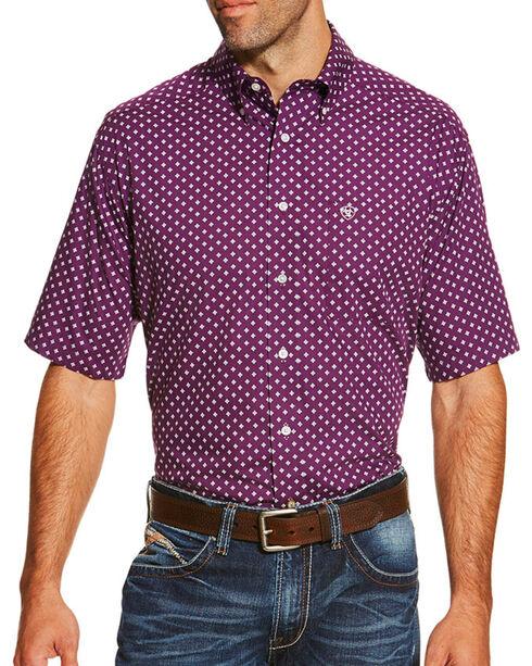 Ariat Men's Dot Printed Short Sleeve Shirt, Purple, hi-res