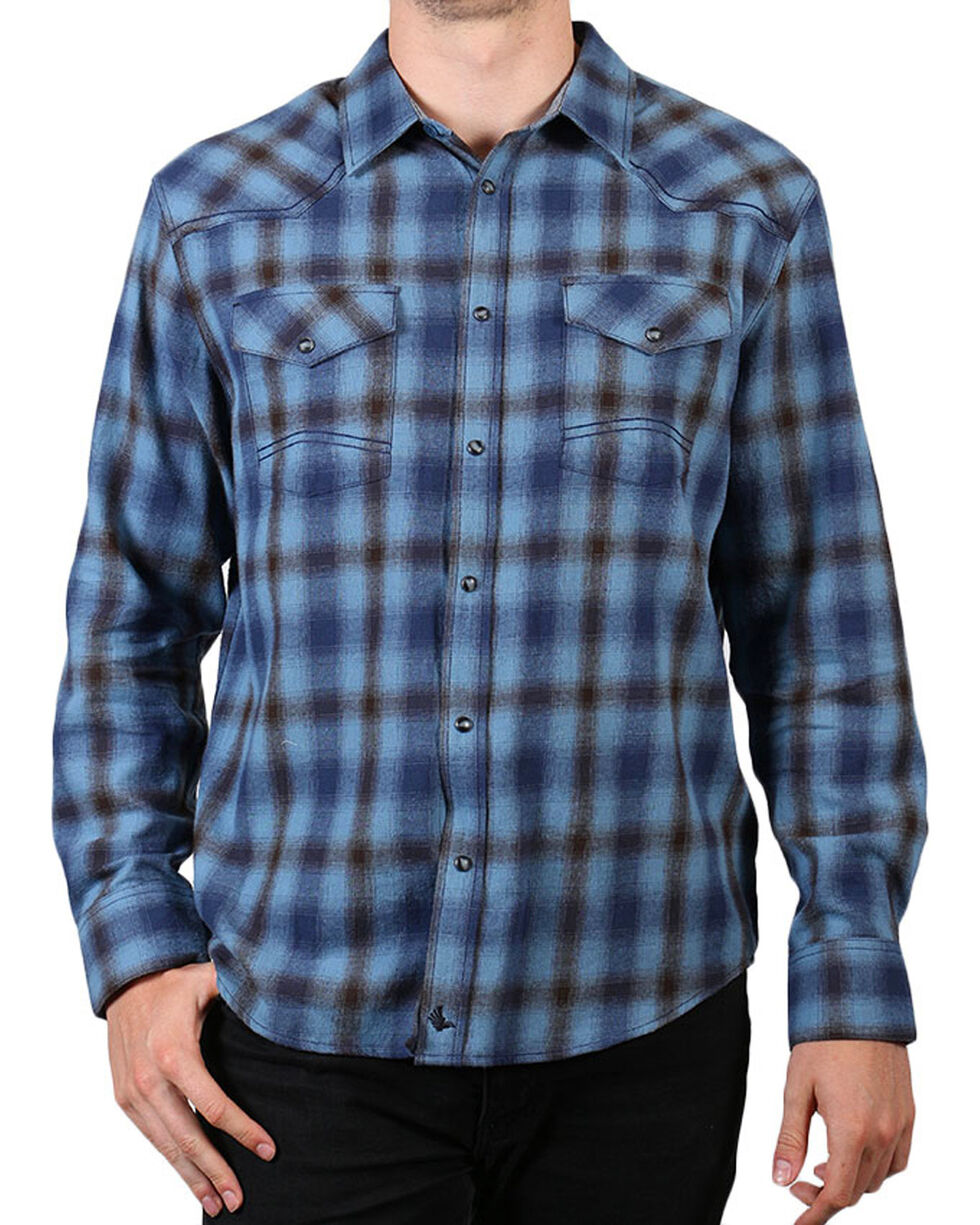 Cody James Men's Blue Grizzly Plaid Long Sleeve Shirt, Blue, hi-res