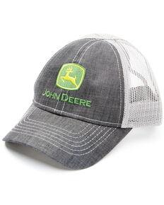 John Deere Kids Grey & White Logo Embroidered Mesh-Back Trucker Cap , Grey, hi-res