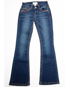 Shyanne Girls' Rust Vine Embroidered Flap Bootcut Jeans, Blue, hi-res