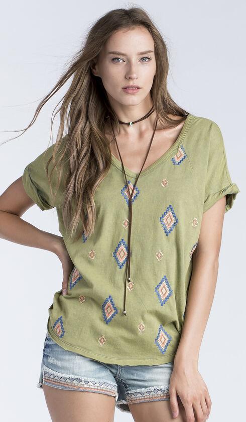 Miss Me Women's Olive Diamond Embroidered V-Neck Shirt , Olive, hi-res