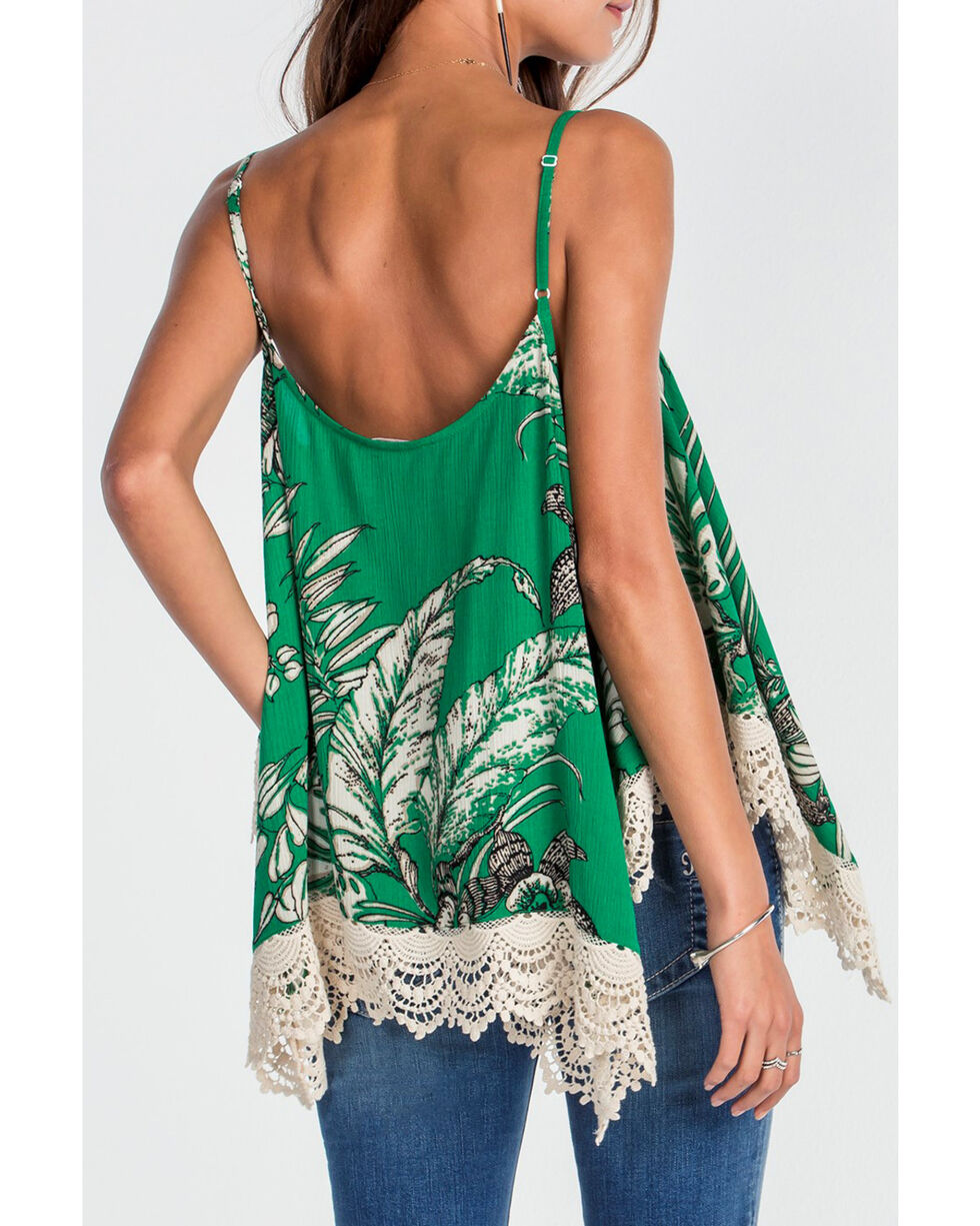 Miss Me Women's Green Lace Trim Cami Top , Green, hi-res