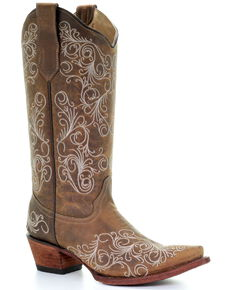 Circle G Women's Scrolling Embroidery Western Boots - Snip Toe, Tan, hi-res