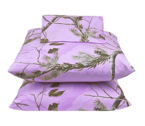 Realtree Lavender Camo X-L Twin Sheet Set, Camouflage, hi-res