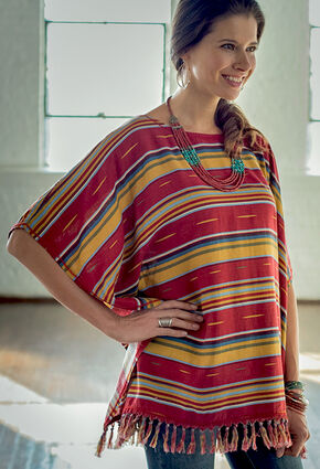 Ryan Michael Women's Serape Poncho, Brick, hi-res